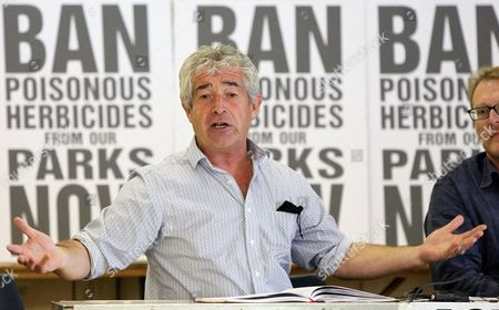 Green activist Tony Juniper speaks at a public meeting chaired by fashion designer Katherine Hamnett asking to 'Ban Poisonous Pesticides from our Parks', in London's Hackney