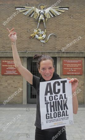 Fashion designer Katherine Hamnett as she chairs a public meeting to 'Ban Poisonous Pesticides from our Parks', in London's Hackney