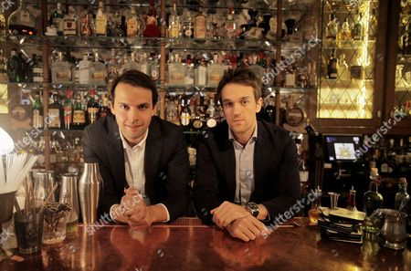 Charlie Gilkes, left, and Duncan Stirling, founders of bar and club empire Inception Group at their central London bar 'Mr Foggs'