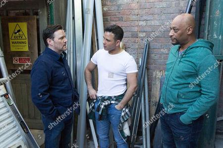 Stock Photo of Tony [TERRENCE MAYNARD] overhears Owen Armstrong [IAN PULESTON-DAVIES] telling Jason Grimshaw [RYAN THOMAS] he's selling up.