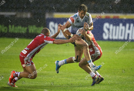 Cardiff Blues' Thomas Williams charges through the Gloucester defence during their Semi Final match