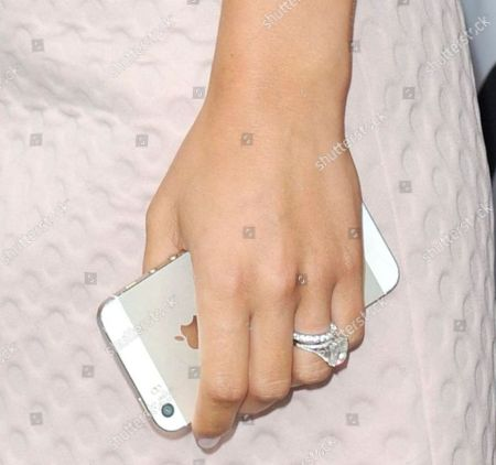 Frankie Sandford wearing her wedding and engagement rings