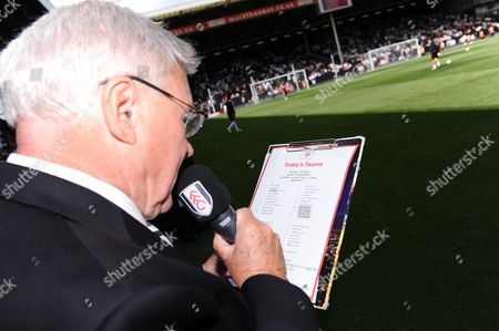 David Hamilton announces his final reading of the teams before stepping down as the club announcer after 18 years