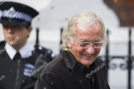 Journalist John Pilger leaving the Ecuadorian embassy in London where Wikileaks founder Julian Assange has given a statement about his future.