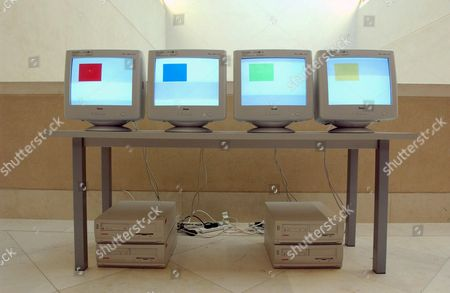 Installation titled 'Colour 0.8' (1996) by David Cunningham