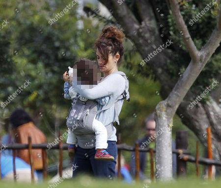 Stock Photo of Penelope Cruz with daughter Luna Encinas Cruz