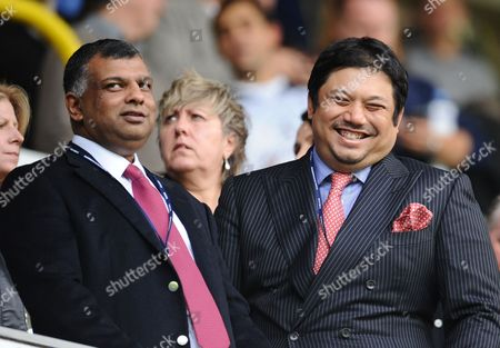 Queens Park Rangers director Ruben Emir Gnanalingam alongside Chairman Tony Fernandes before kick off