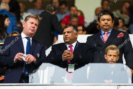 QPR Managing Director Philip Beard, QPR Chairman Tony Fernandes, and co-owner Ruben Emir Gnanalingam