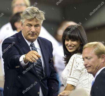 Stock Image of Actor Alec Baldwin in the USTA President's Box watching Maria Sharapova and Maria Kirilenko of Russia in the first round