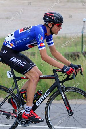 Stock Image of Tejay VanGarderen (BMC) wearing the blue Best Colorado Cyclist Jersey on stage 3 which he won...