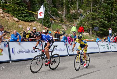 Tejay VanGarderen (BMC) wearing the blue Best Colorado Cyclist Jersey in this sprint for the line with Majka