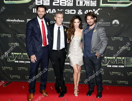 Andrew Form, Brad Fuller, Megan Fox and Jonathan Liebesman