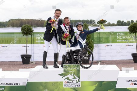Podium Individual Test Grade Ib 1. Lee Pearson and Zion, 2. Pepo Puch and Fine Feelings S, 3. Nicole den Dulk and Wallace - Individual Test Grade Ib Para Dressage - Alltech FEI World Equestrian Gamesª 2014 - Normandy, France.