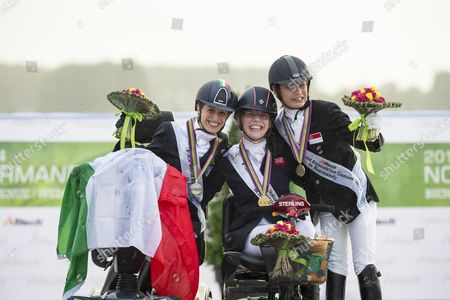 Podium Individual Competition Grade Ia 1. Sophie Christiansen and Janeiro 6, 2. Sara Morganti and Royal Delight 3. Laurentina Yen Yi Tan - Alltech FEI World Equestrian Gamesª 2014 - Normandy, France.