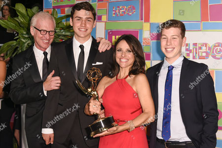Brad Hall, Charles Hall, Julia Louis-Dreyfus and guest