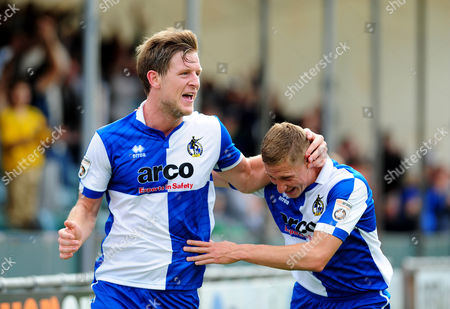 Bristol Rovers' Adam Cunnington celebrates his goal with Dave Martin