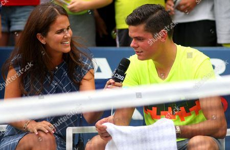 Milos Raonic of Canada interviewed by Mary Joe Fernandez at the US Open 2014