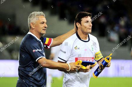 Roberto Baggio and Javier Zanetti
