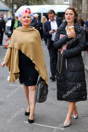 Stock Photo of Hetty Banes-Russell (Maureen 'Mo' Lowe) arriving on set in her curlers and Emily Bevan (Mary Fairbrother)
