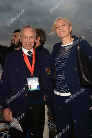Stock Photo of President of International Federation of Dragon Boat Mike Haslam and the Olympic canoeing champion Josefa Idem.