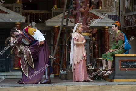 Simon Harrison (Antipholus of Syracuse), Hattie Ladbury (Adriana), Becci Gemmell (Luciana) and Brodie Ross (Dromio of Syracuse).
