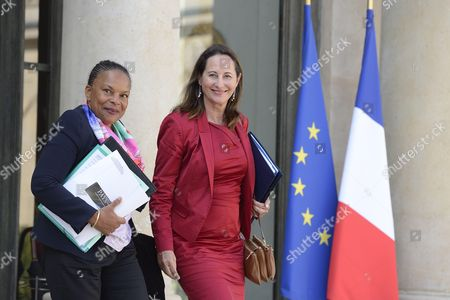 French Justice minister, Christine Taubira and French Minister for Ecology, Sustainable Development and Energy, Segolene Royal