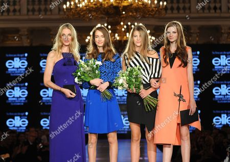 Model Pavlina Nemcova, Slovak winner Barbrara Benova, Czech winner Barbora Podzimkova and Elite Model Look 2013 winner Eva Klimkova