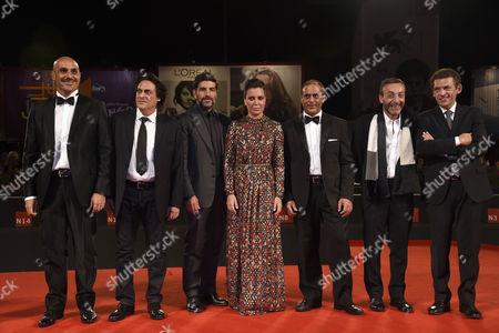 Director Sabina Guzzanti with cast, Enzo Lombardo, Ninni Bruschetta, Filippo Luna, Franz Cantalupo, Claudio Castrogiovanni