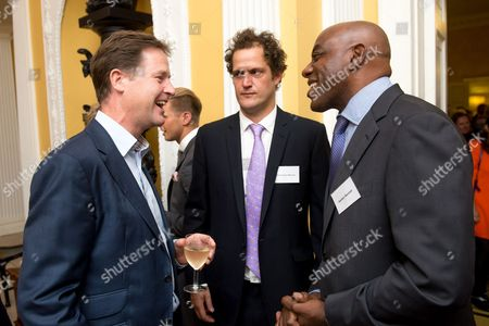 Celebratory chefs Valentine Warner (middle) and Ainsley Harriott (right) were among the guests at the Deputy Prime Minister Nick Clegg's reception to celebrate the launch of the free school meals campaign.