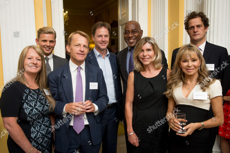 Deputy Prime Minister Nick Clegg hosts a reception to celebrate his launch of the free school meals campaign. L-r Guests Carrieanne Bishop, Jeff Brazier, MP David Laws, DPM Nick Clegg, Ainsley Harriott, Amanda Ursll, Annabel Karmel and Valentine Warner.