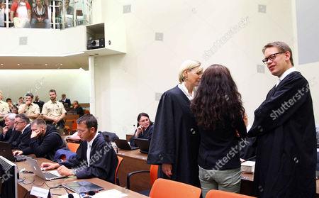 Andre Eminger, Wolfgang Stahl, Attorney Anja Sturm, Beate Zschaepe, defense attorney Wolfgang Heer