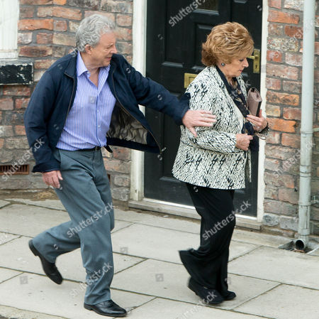 Stock Picture of Coronation Street - Ep 8436 Monday 28 July 2014 - 1st Ep Rita Tanner [BARBARA KNOX] is onto Dennis Tanner [PHILIP LOWRIE] and confronting him in the Rovers she reveals she knows all about his little scam. Will Dennis be able to talk her round or has his chance of forgiveness gone?