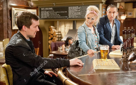 Sam Dingle [JAMES HOOTON] is excited about taking Tracy [AMY WALSH] out but Robbie Lawson [JAMIE SHELTON] warns him not to let her take advantage