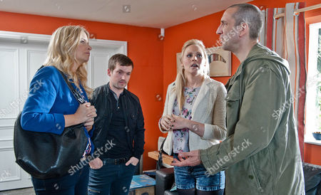 Tracy [AMY WALSH], Robbie Lawson [JAMIE SHELTON] and Sam Dingle [JAMES HOOTON] plead with Charity to allow them to stay. Later Sam once again pays Tracy for her time, she's clearly playing him for everything she can.