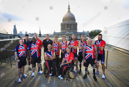 UK Armed Forces Team Captains Gary Prout, Dave Henson, Corie Mapp, Charlie Walker, Luke Reeson, Adam Nixon, Mary Wilson, Sam Stocks, Andy Phillips, JJ Chalmers, Scott Meenagh, Micky Yule and Don MacLean pictured together ahead of the Invictus Games, taking place in London 11-14 September 2014. The team has been trained and selected by Help for Heroes