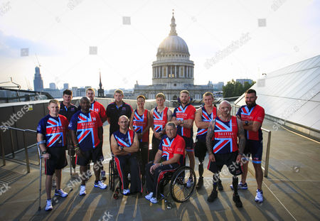 Stock Photo of UK Armed Forces Team Captains Gary Prout, Dave Henson, Corie Mapp, Charlie Walker, Luke Reeson, Adam Nixon, Mary Wilson, Sam Stocks, Andy Phillips, JJ Chalmers, Scott Meenagh, Micky Yule and Don MacLean pictured together ahead of the Invictus Games, taking place in London 11-14 September 2014. The team has been trained and selected by Help for Heroes
