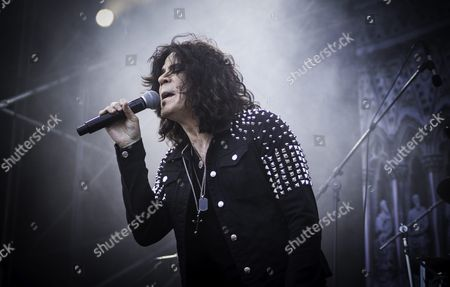 Stock Picture of T.N.T. on stage at Väsby Rock Festival. Vocalist Tony Harnell.