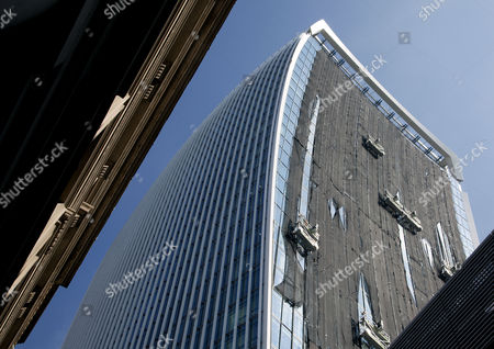"Temporary netting ""sunshade"" fitted to Walkie Talkie building, City of London"