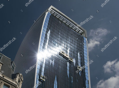 "Stock Image of Temporary netting ""sunshade"" fitted to Walkie Talkie building, City of London"