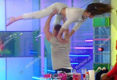Edele Lynch being lifted and spun around by James Jordan