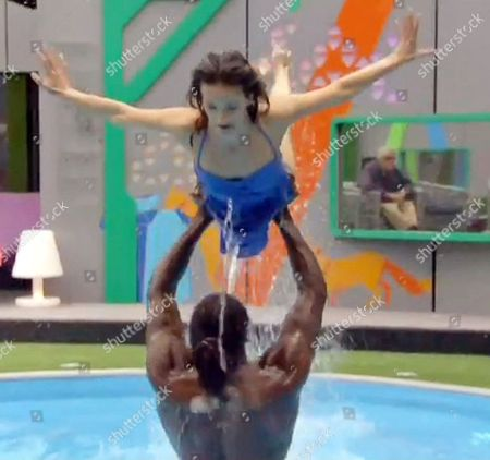 Audley Harrison attempting to lift Edele Lynch in the pool