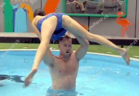 James Jordan lifting Edele Lynch in the pool