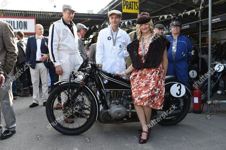 Rider Maria Costello on her 1920 flat twin hand shift BMW R63.