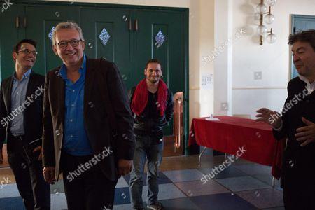 Olivier Dartigolles, Pierre Laurent and Jean-Luc Melenchon
