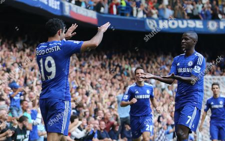 Chelsea's Diego Costa Celebrates Goal with Ramires 2-1