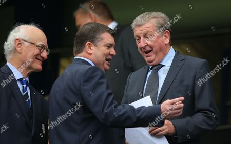 England Manager Roy Hodgson with Chelsea chairman Bruce Buck left and Chief Exccutive Ron Gourlay