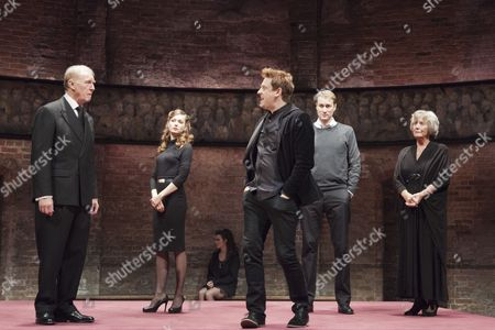 L-R: Tim Pigott-Smith as Charles, Lydia Wilson as Kate, Richard Goulding as Harry, Oliver Chris as William and Margot Leicester as Camilla
