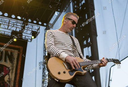 Stock Image of Jonny Wickersham of Social Distortion performs on stage at Riot Fest Chicago 2014 at Humboldt Park in Chicago, America.