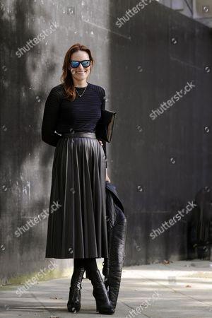 Editorial image of Street Style, Spring Summer 2015, London Fashion Week, Britain - 13 Sep 2014