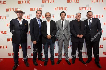 Pascal Breton, Netflix Co Founder and CEO Reed Hastings, Dan Franck, Samuel Benchetrit, Florent Emilio-Siri and Netflix chief content officer Ted Sarandos